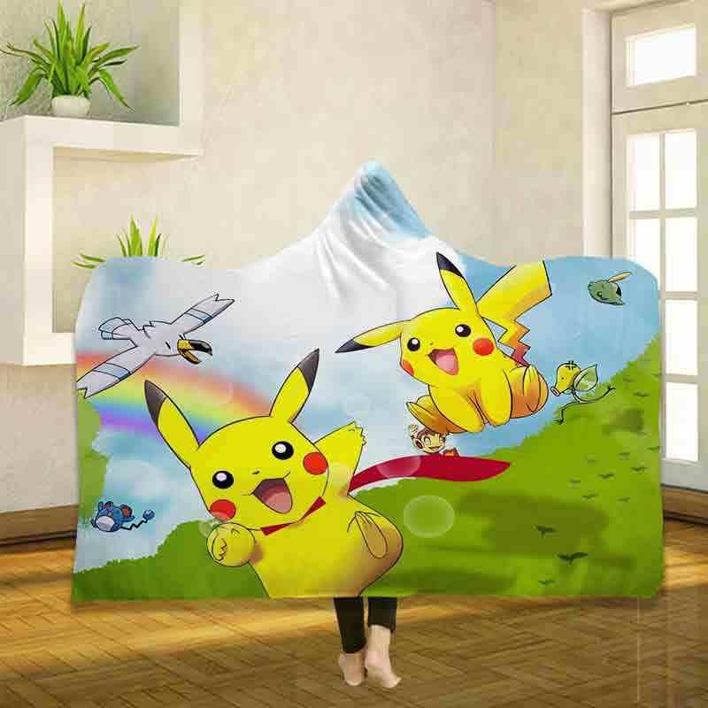 Pokemon Pikachu 3D impresión tiro con capucha manta usable cálido polar ropa de cama Oficina edredones suaves adultos viaje 02