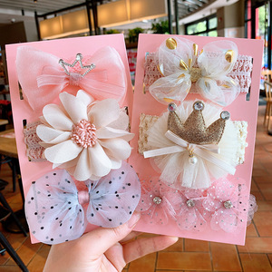 3 Pcs/Set Baby Headband Princess Lace Crown Bows Kids Newborn Hairband Headbands For Girls Flower Turban Baby Hair Accessories