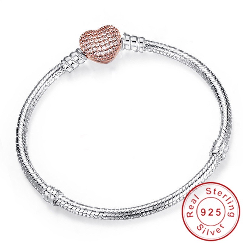 2019 Handmade Original 925 Sterling Silver Snake Chain Bracelet Secure Heart Clasp Beads Charms Bracelet For Women DIY Jewelry