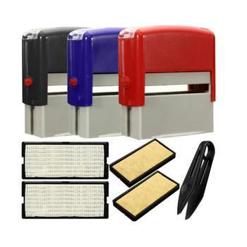 Self Inking Stamp Set Custom Personalised DIY Business Name Number Address Printing Rubber Stamp Tweezers Kit Office Supplies