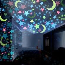 Pegatinas de pared luminosas de estrellas en 3d para lunas en la oscuridad, pegatinas de pared fluorescente para habitación de bebé, dormitorio, decoración del techo del hogar, 100 Uds.