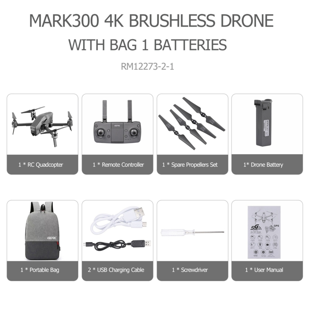 Mark300 GPS RC Drone with Camera HD 4K 5G Wifi Optical Flow Positioning Brushless RC Quadcopter Drones Toys VS Dron E58 & SG907
