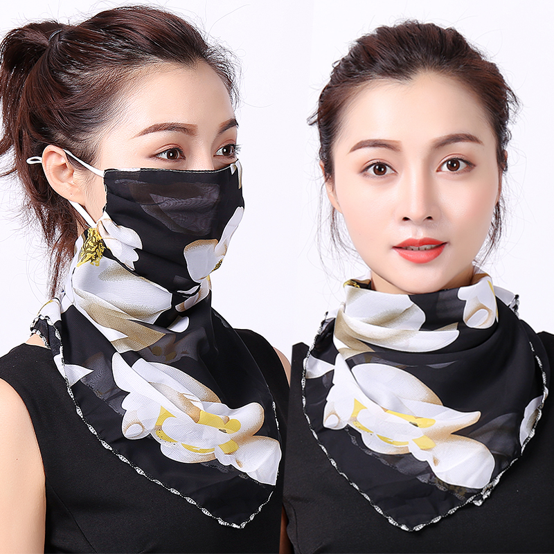 Reusable Face Mask Scarf Women Sun Protection Mouth Mask Neck Silk Scarves Outdoor Riding Chiffon Face Cover Shawl Handkerchief