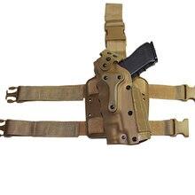 Funda táctica de pistola de mano izquierda/derecha para Glock 17 19 Colt 1911 H & K USP, Funda Universal para pierna y muslo, apta con linterna