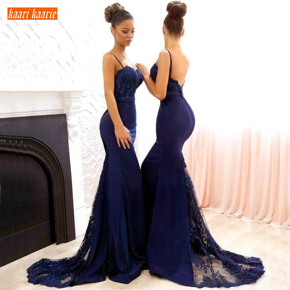 Navy Blue Mermaid Long Bridesmaid Dresses Lace Applique Beaded Wedding Guest Gowns Spaghetti Straps Backless Maid Of Honor Dress