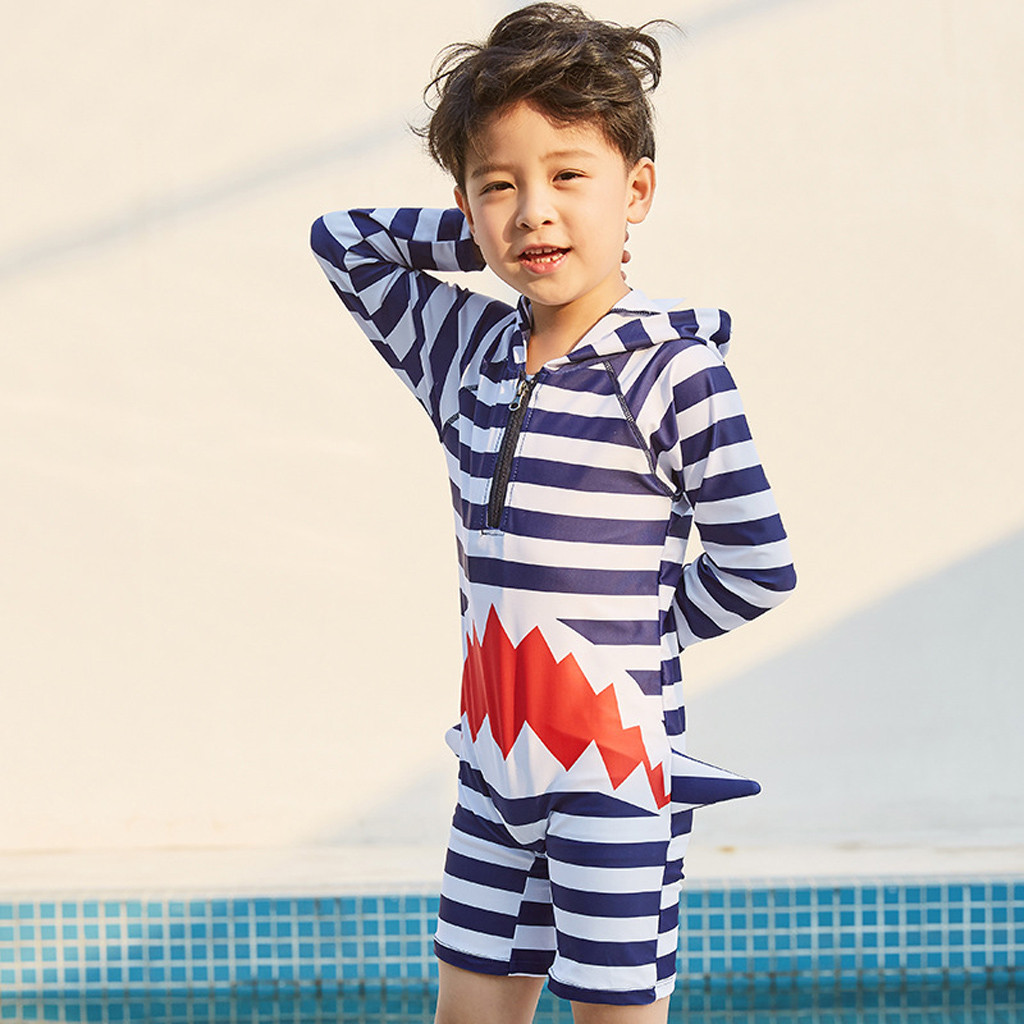 Children's Swimsuit New Fashion Baby Long Sleeve Cartoon Stripe Hooded Bathing Pool Beach Swimwear Children's Swimsuit Boy