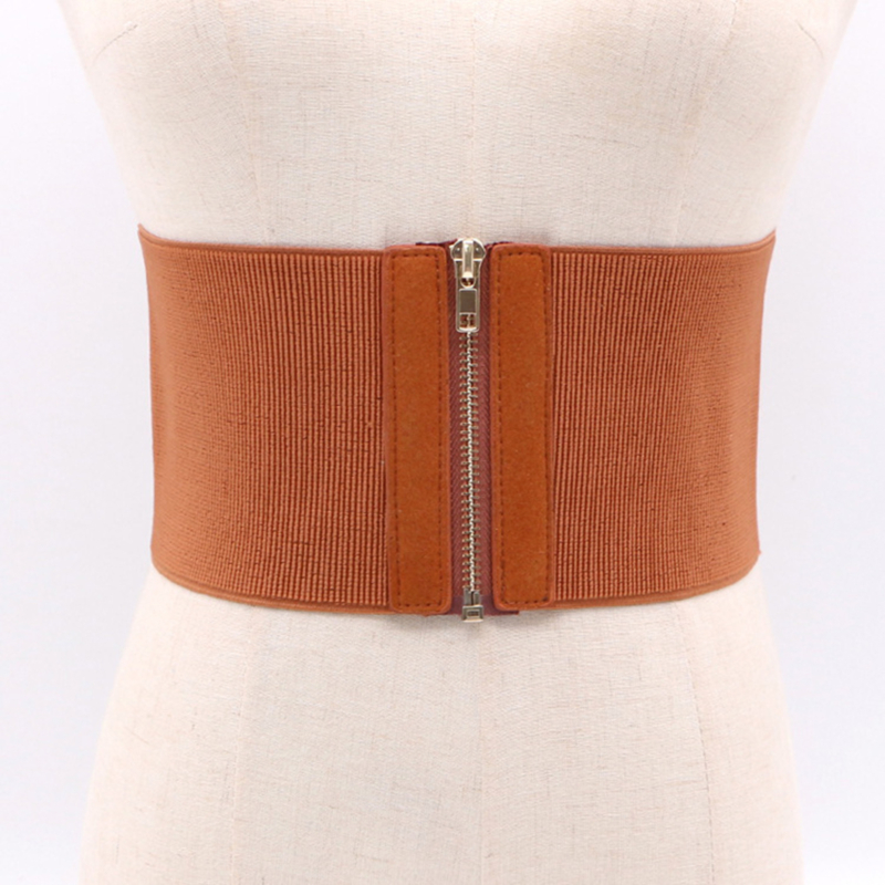 New Women Leisure Brown Elastic Belt Woman Wide Waist Female Cummerbunds For Autumn Clothing Accessories Belts