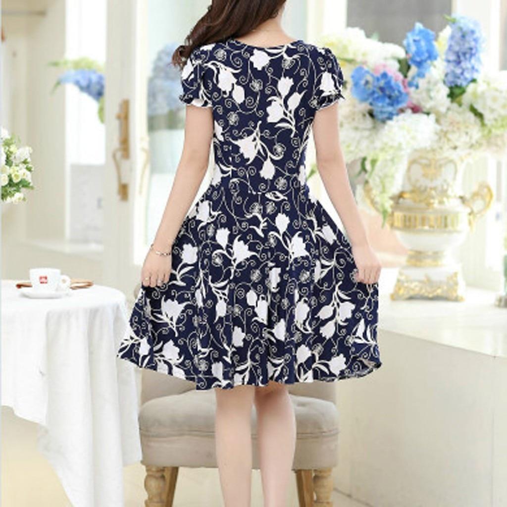 Fashion Dress Women Elegant O-neck Knee Length Office Casual Dresses Ladies Short Sleeve Retro Printing Dress Vestidos #P2 4