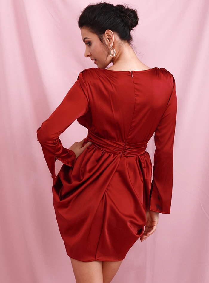 Sexy Deep Red Split High Waist Shrug Mini Dress