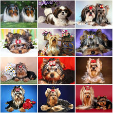 Diy 5d diamond painting cross ctitch kits full round resin dog