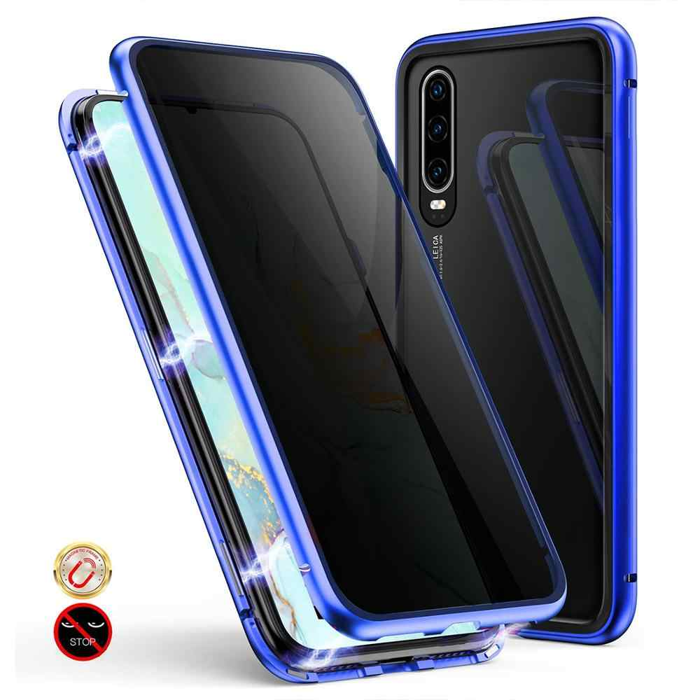 Privacy Custodie Magnetica per Huawei P20 P30 Pro Compagno di 20 Honor 9X 20Pro 360 Double Sided Vetro Temperato Anti Peeping telefono Coperture