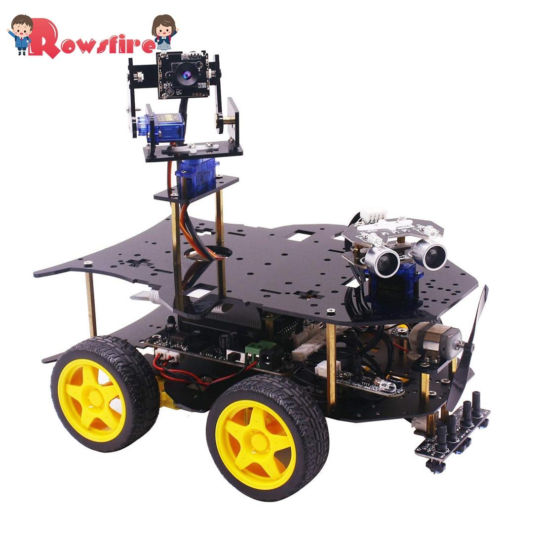 Ultimate Starter Kit for Raspberry Pi HD Camera Programmable Smart Robot Car Kit with 4WD Electronics Education DIY Stem Toy Kit