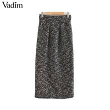 Vadim frauen elegante tweed midi rock zurück split taschen Europäischen stil büro tragen grundlegende gemütlich weibliche casual röcke BA858