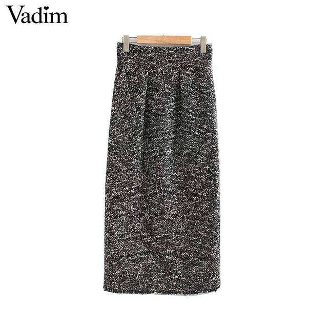 Vadim נשים אלגנטי טוויד midi חצאית חזרה פיצול כיסים אירופאי סגנון משרד ללבוש בסיסי מפנק נקבה מקרית חצאיות BA858