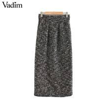 Vadim women elegant tweed midi skirt back split pockets European style office wear basic cozy female casual skirts BA858