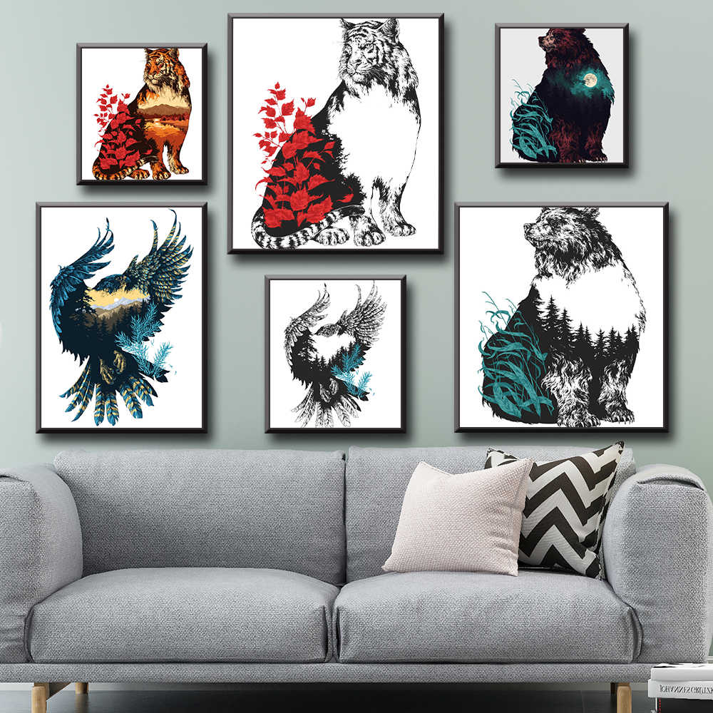 Bear Tiger Eagle Posters And Prints Wall Art Canvas Painting Wall Pictures For Living Room Decor
