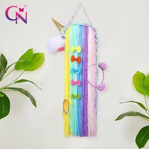 CN Unicorn Hair Bows Storage Belt for Girls Hair Clips Barrette Hairband Hanging Organizer