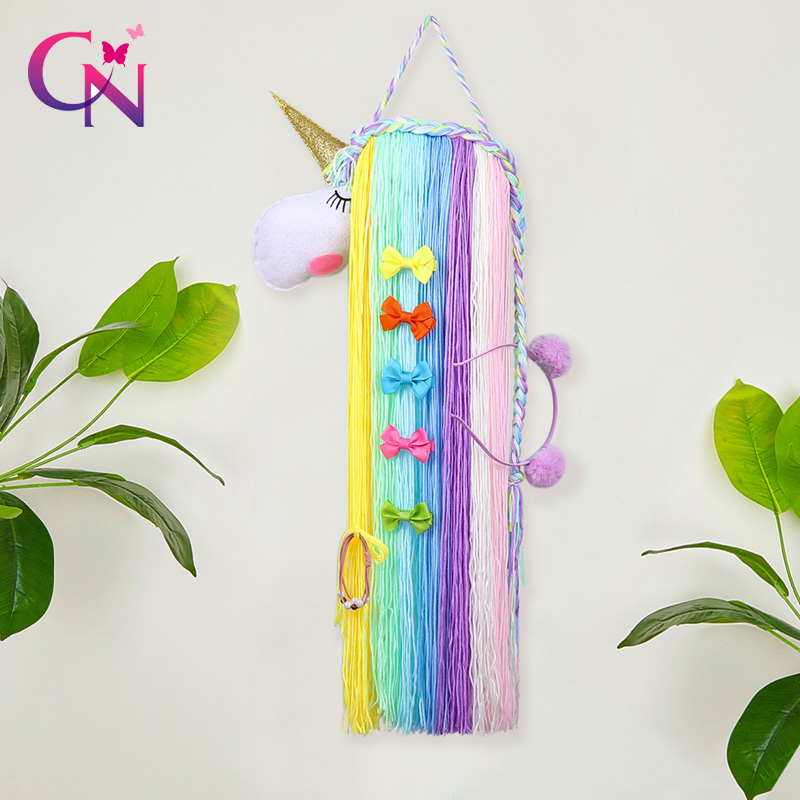 CN Unicorn Hair Bows Storage Belt For Girls Hair Clips Barrette Hairband Hanging Organizer Strip Holder For Hair Accessories