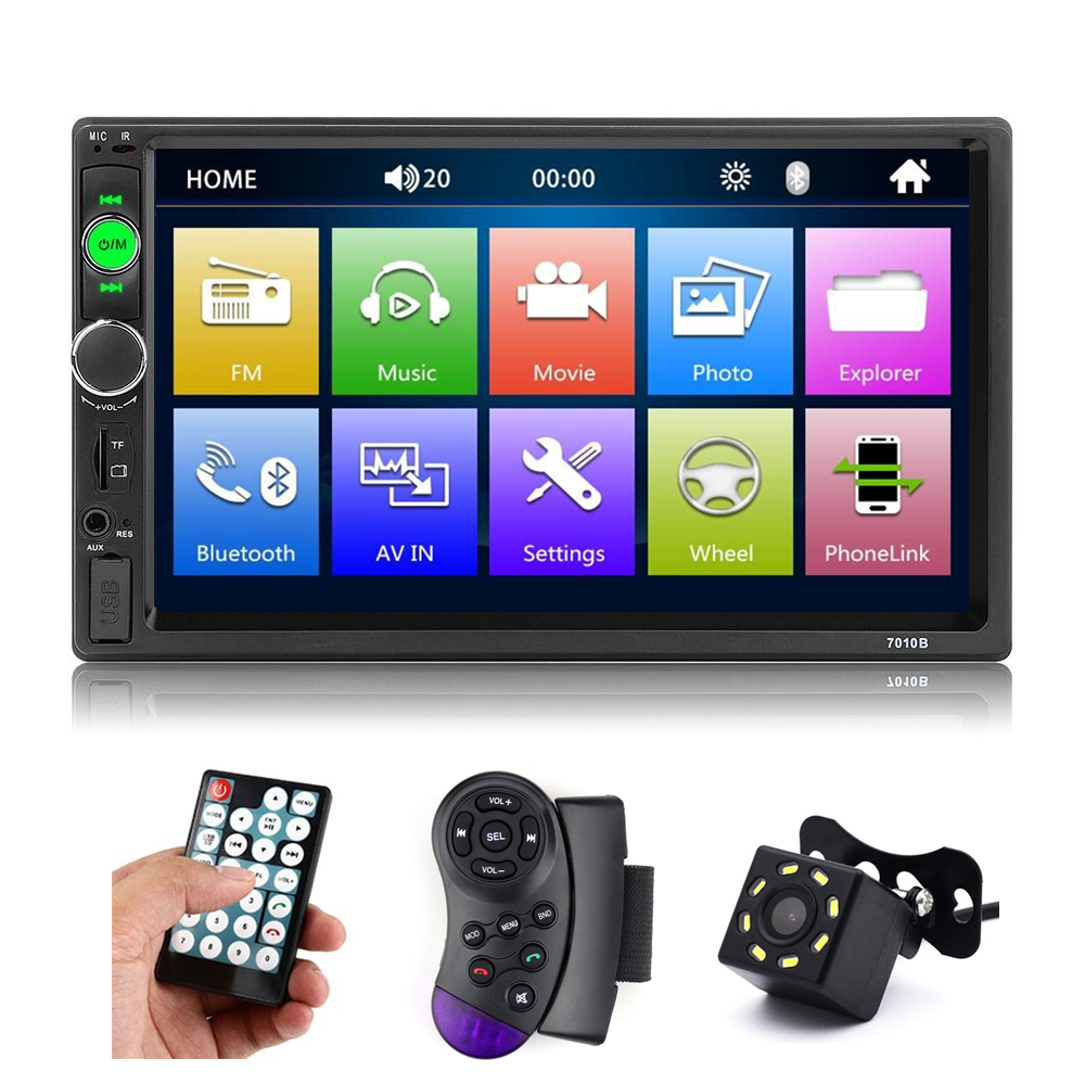 "7"" HD Player MP5 2 din car radio Touch Screen Display Mirror Link Bluetooth Multimedia USB Autoradio Rear View Camera 7010B"