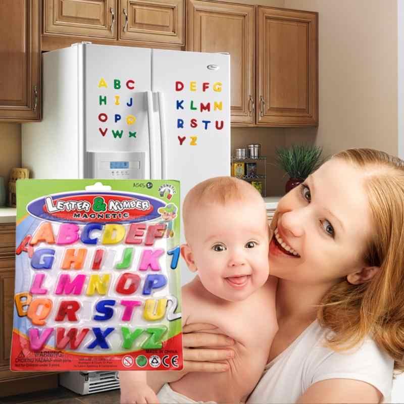 26 sztuk magnesy na lodówkę kolorowe ABC alfabet naklejki na lodówkę Kid Early Learning zabawki edukacyjne wielofunkcyjne nowe dekoracje do domu
