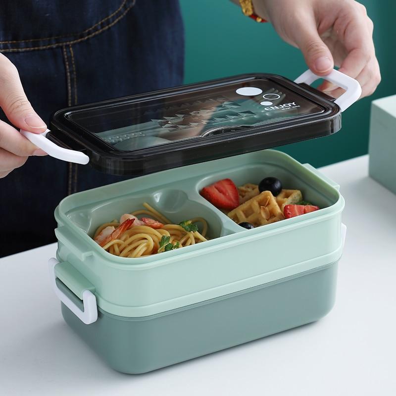 Duplo em camadas lancheira microondas aço inoxidável japão bento caixa estilo simples tigela de sopa para crianças utensílios de mesa portátil copo de leite
