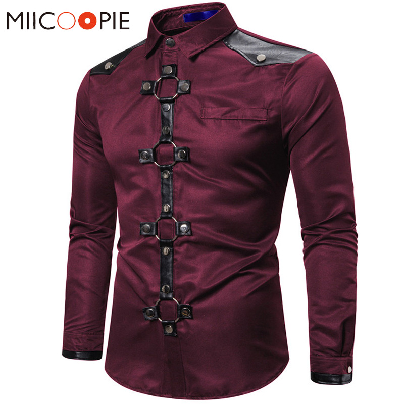 Long Shirt Men New Goth Style Rivet Solid Color Cargo Shirt Slim Fit Chemise Noel Party Singer Stage Streetwear For Men Clothing