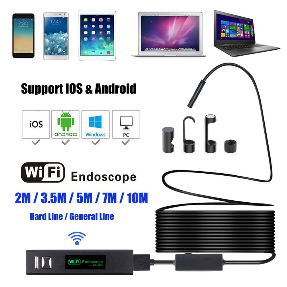 8mm WiFi 7m Endoscope With Hard Cable Waterproof USB Endoscope Handheld Borescope Digital Inspection Camera For Phone
