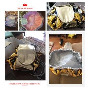 Toiletry Wash Cosmetic Bag Makeup Storage Case Organizer Mermaid-Color Drawstring shrink Women Fashion Travel Accessories Items 6