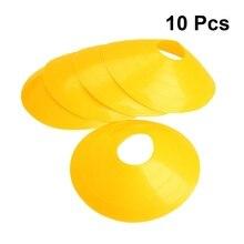 10PCS Football Training Sign piatto piatto cono ostacolo Marker Tray Football Training Disc Equipment bocca rotonda ordinaria (giallo)