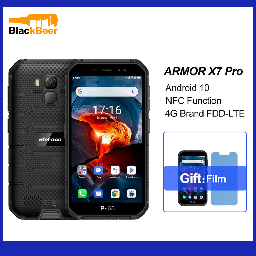 Ulefone Armor X7 Pro Android 10.0 Mobile Phone IP68 Waterproof Rugged Smartphone 4GB+32GB Quad Core 4G LTE Cellphone 4000mAh NFC