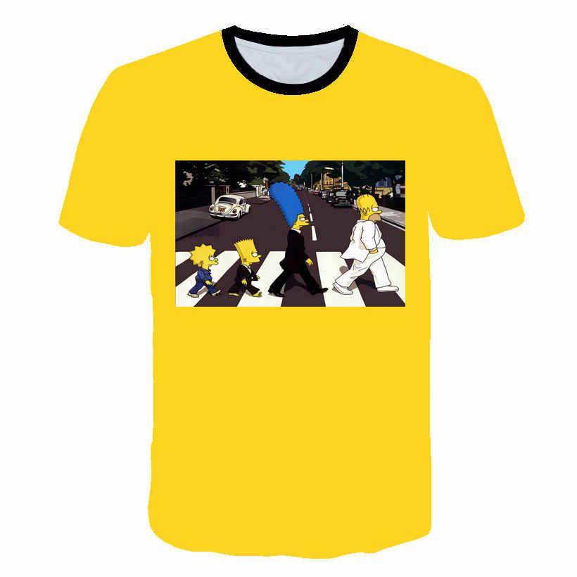 Новинка, футболка с героями мультфильма Симпсоны, футболка с черепом, мужские топы, одежда с коротким рукавом, 3D принт, уличная одежда, хип-хоп футболки, футболки