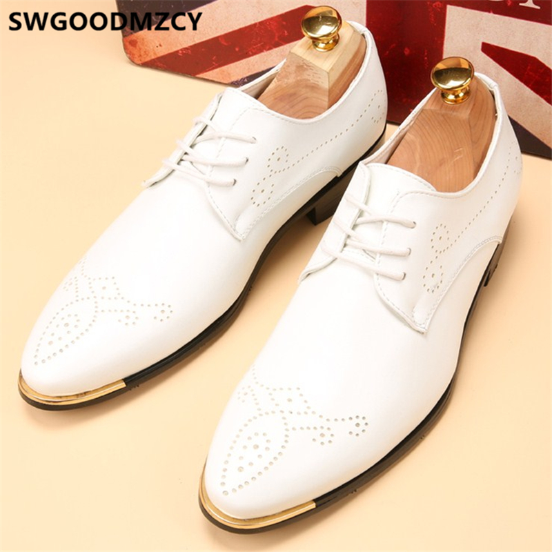 Brogue Shoes Men Formal Dress Italian Shoes Men Classic Leather Dress Brand White Official Shoes For Men Wedding Dress 2020 Buty