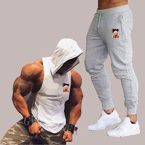 Image 3 - 夏新ドラゴンボール男性のフード付きベストカジュアルスーツ男性の服の男はトップス + パンツ男性トレーナーブランドフード付きベストセット