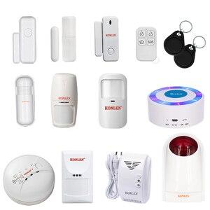 Wireless Pir Motion Detector Door Window Sensor Fire Smoke Gas Detector Strobe Siren 433mhz Accessories For KONLEN Alarm System(China)