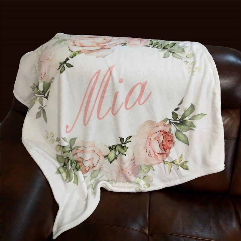 Manta de bebé personalizada para envolver ropa de cama de bebé, cuna para envolver flores de dibujos animados para recién nacidos, regalo para bebé, manta de cama, regalo de cumpleaños