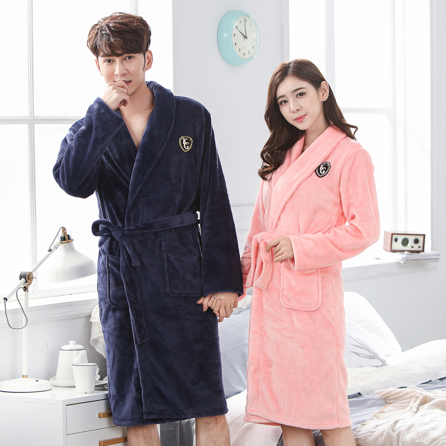 V-neck Sleepwear Full Sleeve Solid Colour Home Dressing Gown Intimate Lingerie Bathrobe Gown For Men&women Plus Size 3XL