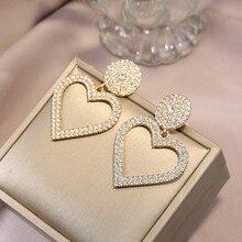 WUKALO 2020 New Fashion Exaggerated fashion crystal heart earrings AAA CZ Stone Women Drop Earrings Jewelry