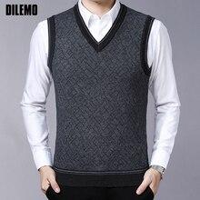 Модные фирменные мужские свитера, пуловеры с v-образным вырезом, облегающие вязаные Джемперы, жилет без рукавов, зимний Корейский стиль, повседневная одежда для мужчин