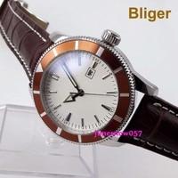 Bliger 46mm Miyota 8215 blanco sterial fecha bisel naranja luminoso desplegable cierre automático reloj de hombre