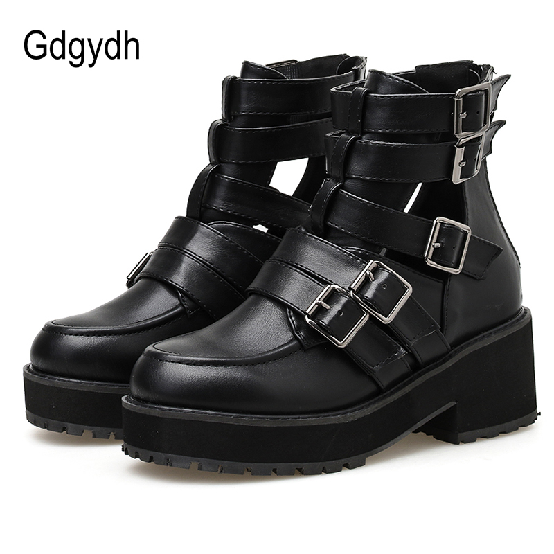 Gdgydh Sexy Buckle Gothic Black Leather Boots Women Hollow Out Chunky Heel Autumn Shoes Female With Zipper Cheap Drop Shipping
