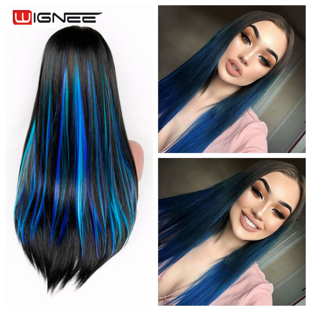 Wignee in one piece synthetic hair extension Heat Resistant Synthetic Fiber Mixed Colorful Grey/Blue For Africa American Wigs