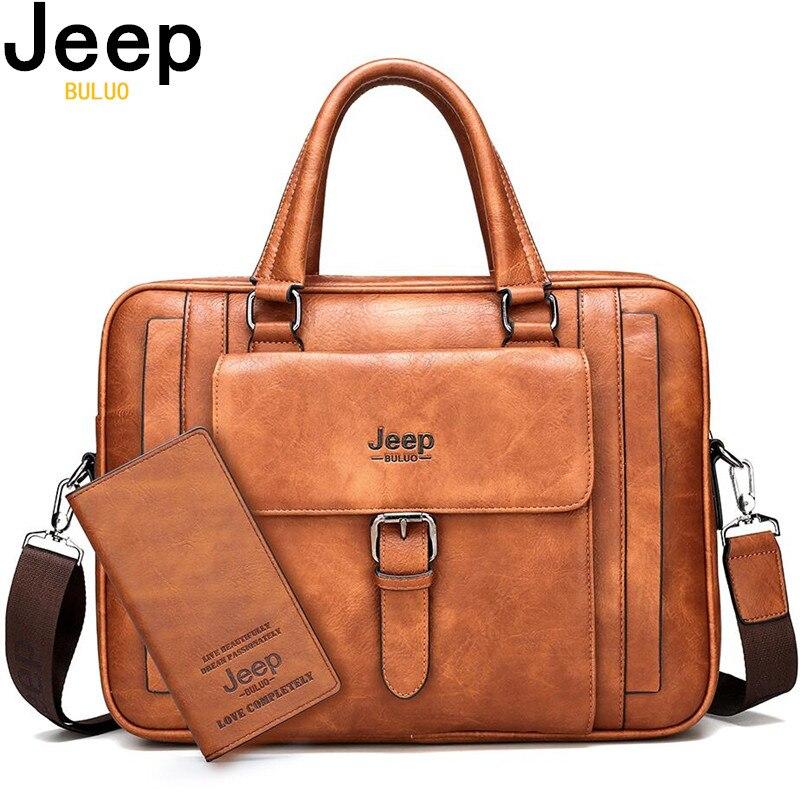 JEEP BULUO grande taille Split cuir sac à main d'affaires homme épaule sac de voyage bureau hommes porte-documents sacs pour 15.6 pouces ordinateur portable