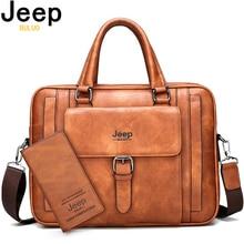 Jeep buluo grande tamanho split couro bolsa de negócios masculino ombro saco viagem sacos de escritório dos homens maleta para 15.6 polegadas portátil