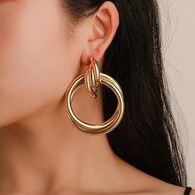 Vagzeb New Fashion Gold Silver Color Round Earrings For Women Big Twisted Geometric Earrings Metal Jewellery()