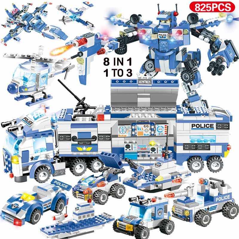 1122 Uds 8IN1 SWAT ciudad helicóptero de policía camión bloques de construcción Legoinglys ciudad estación de policía ladrillos juguetes para niños