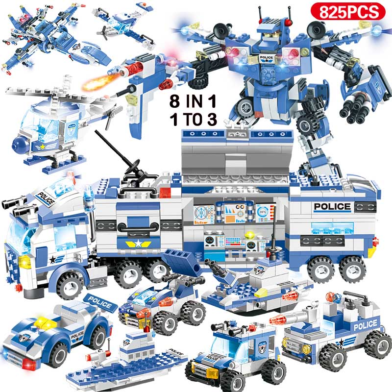 Image 4 - 1122pcs 8IN1 SWAT City Police Truck Car Building Blocks Compatible  City Police Station Bricks Toys for Boys ChildrenBlocks   -