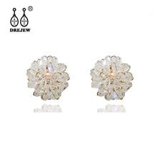 DREJEW White Pink Black Flower Statement Earrings 925 Gold Silver Rhinestone Stud Earrings Sets for Women Wedding Jewelry HE629 цена и фото