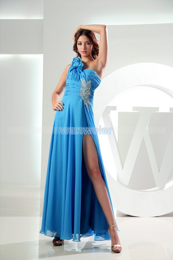 Free Shipping 2020 New Sexy Backless Evening Gown One Shoulder Custommade Blue Vestido Longo Beading Chiffon Party Prom Dresses