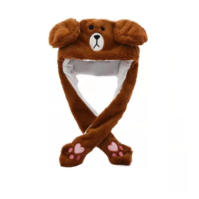 Kocozo, шапка кролика, подвижные уши, милая мультяшная игрушка, шапка, подушка безопасности, Kawaii, забавная шапка-игрушка, Детская плюшевая игрушка, подарок на день рождения, шапка для девочек - Цвет: Bear