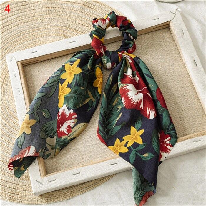 Элегантные резинки для волос с большим цветком и леопардовым принтом; эластичные резинки для волос для женщин и девочек; завязанные длинные резинки; шарф; аксессуары для волос - Цвет: A4
